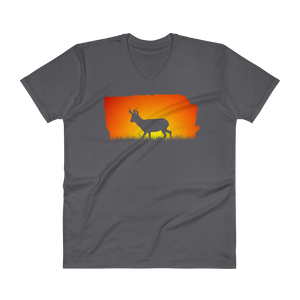 Sunset Pronghorn Silhouette V-Neck T-Shirt - the selfish conservationist