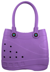 Optari Sol Tote - Durable Hand Bag - Comfortable Lightweight Girl's or Mom Purse - Beach Pool Shopping Bag - Color: Purple