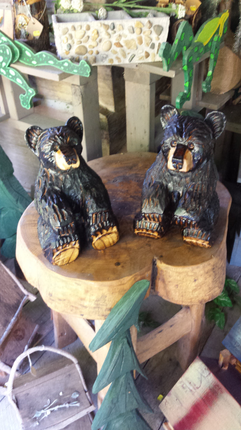 Chainsaw Carved Sitting Bear Small