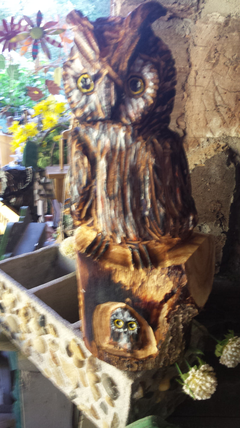 Chainsaw Carved Small Owl