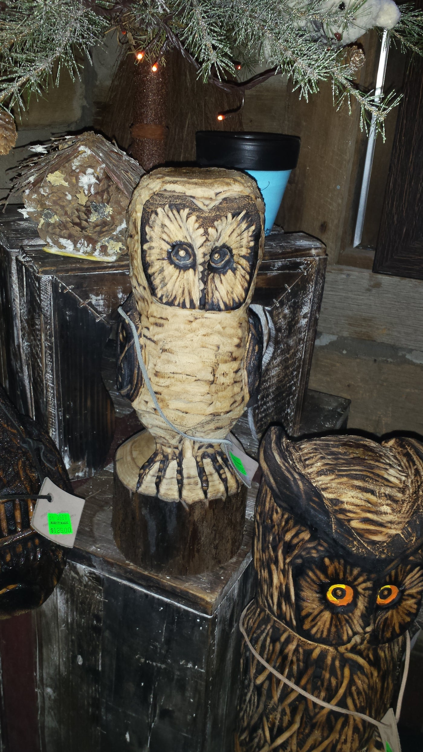 Chainsaw carved barn owl small u make it magic
