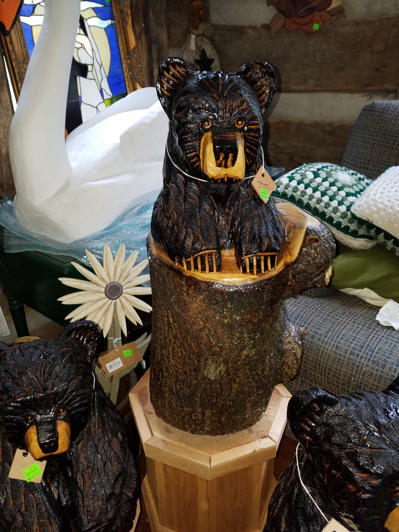 Chainsaw Carved Bear in a Stump Medium 2