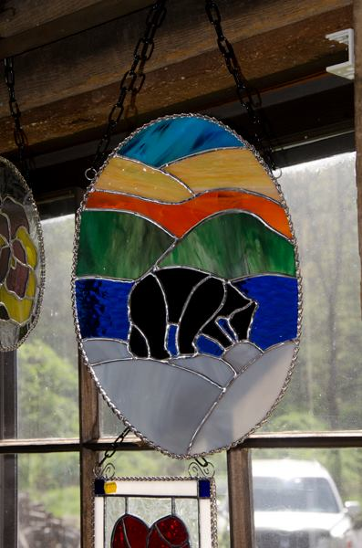 Bear with Mountains Stained Glass