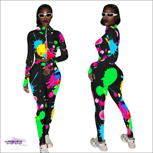 'A Splash of Color & Curves' Two Piece Tie Dye Tracksuit