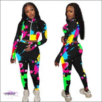 'A Splash of Color & Curves' Two Piece Tie Dye Tracksuit black / S / United States