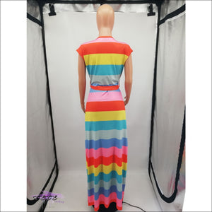Adore My Curves Casual Rainbow Striped Sundress