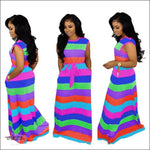 'Adore My Curves' Casual Rainbow Striped Sundress green / S / United States