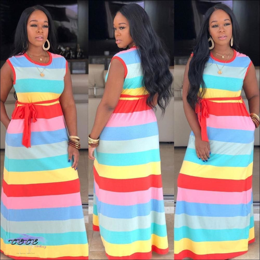 'Adore My Curves' Casual Rainbow Striped Sundress