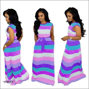 'Adore My Curves' Casual Rainbow Striped Sundress purple / M / United States