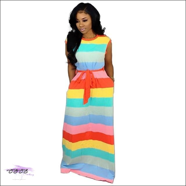 Adore My Curves Casual Rainbow Striped Sundress S