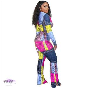 'Aint Nothing To Play Wit' Two Piece Multicolor Bandana Jumpsuit