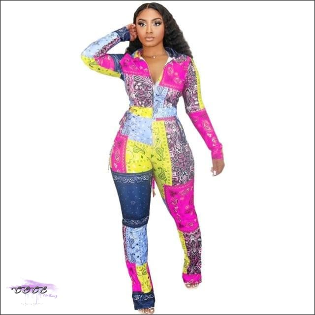 'Aint Nothing To Play Wit' Two Piece Multicolor Bandana Jumpsuit pink / 2X