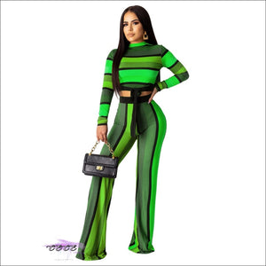 'All Kinds Of Flava' Colorful Stripe Casual Two Piece Jumpsuit green / 1X