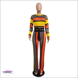 'All Kinds Of Flava' Colorful Stripe Casual Two Piece Jumpsuit