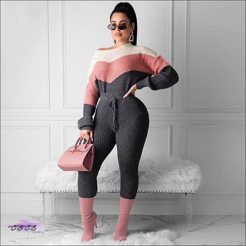 All Kinds Of Flavor Casual Sweater Two Piece Set Pink / 1X