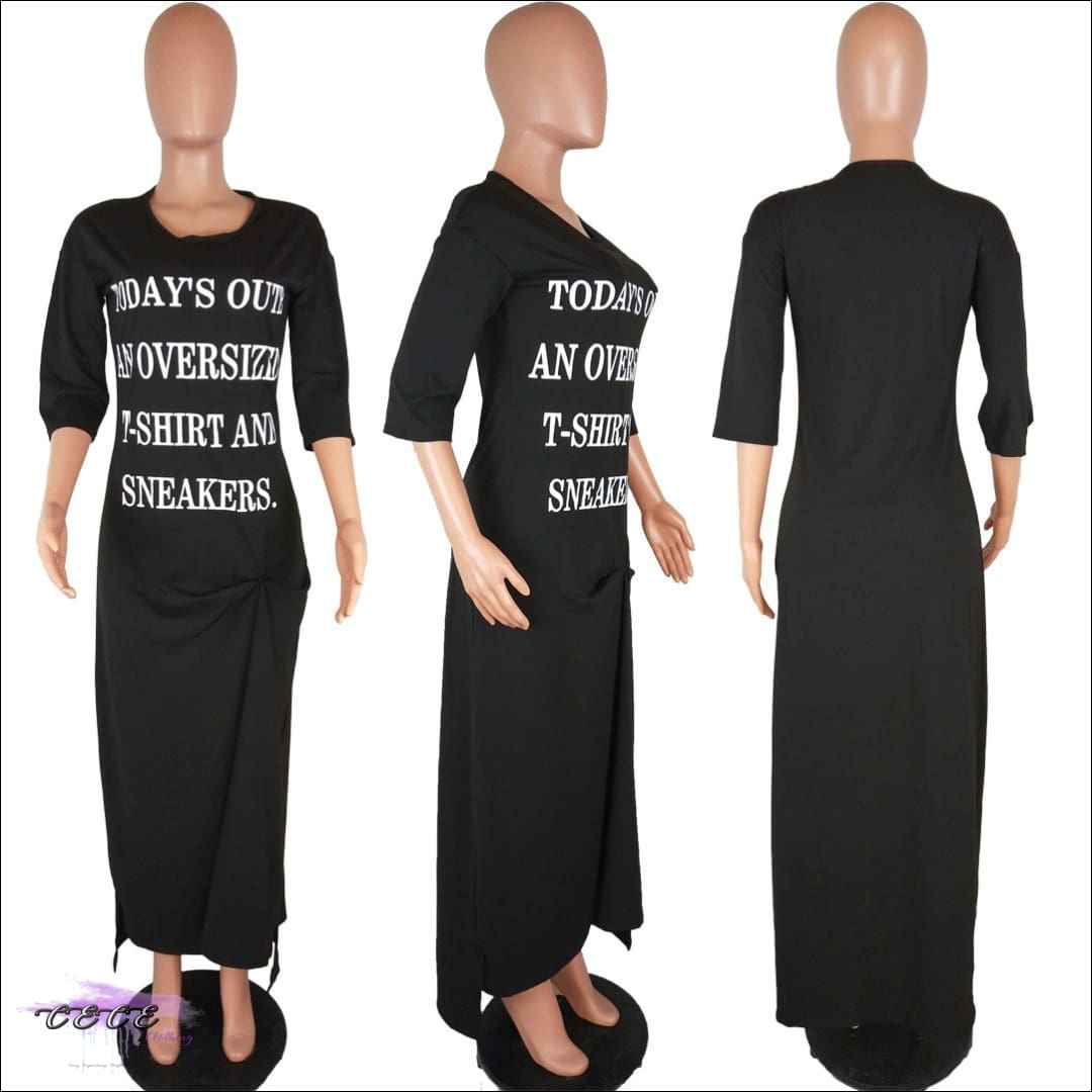 Around The Way Girl Black Casual T-Shirt Dress