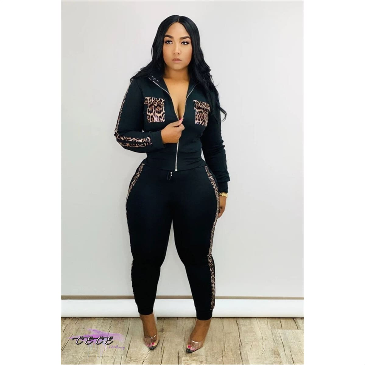 Bad & Curvy Leopard Print Two Piece Black Tracksuit 2X