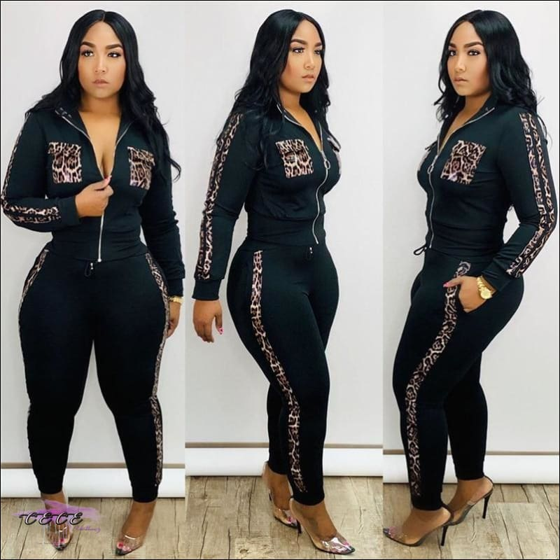 Bad & Curvy Leopard Print Two Piece Black Tracksuit