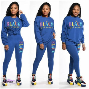 Black Girl Magic' Two Piece Casual Tracksuit blue / S