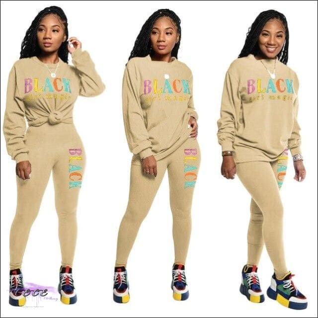Black Girl Magic' Two Piece Casual Tracksuit brown / 1X