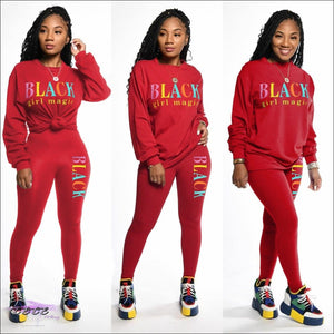 Black Girl Magic' Two Piece Casual Tracksuit red / L
