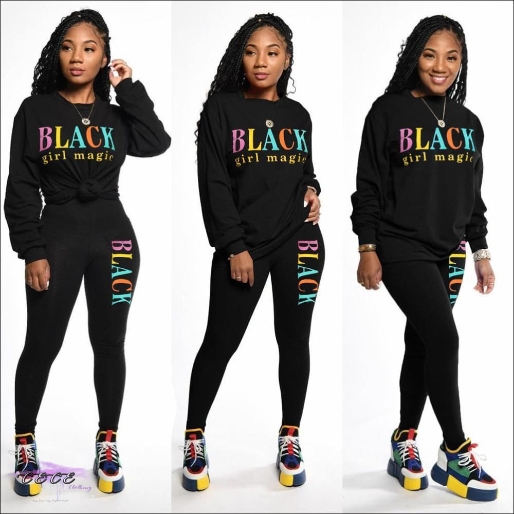Black Girl Magic' Two Piece Casual Tracksuit black / S