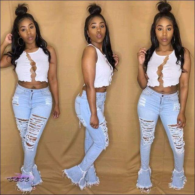 'Boyfriend Getter' Flare High Waist Ripped Jeans blue jeans / 2X / United States