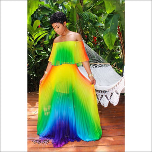 Candy Girl Two Piece Rainbow Chiffon Summer Dress blue / S