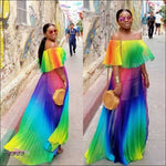 Candy Girl Two Piece Rainbow Chiffon Summer Dress