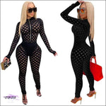 'Can't Keep These Curves To Myself' Hollow Out Fishnet Jumpsuit black / 2X