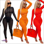 'Can't Keep These Curves To Myself' Hollow Out Fishnet Jumpsuit
