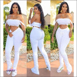 'Caught Ya Looking' Two Piece Tracksuit (Crop Top + Sweatpants) white / 1X