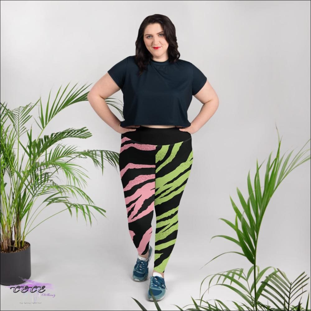 CECE Clothing Signature Pink & Green Tigress Leggings 2X
