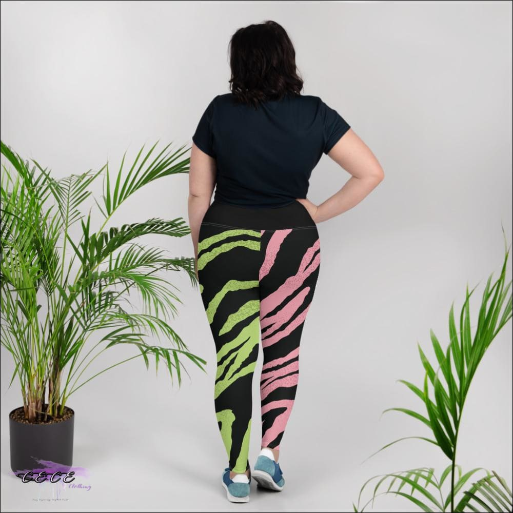 CECE Clothing Signature Pink & Green Tigress Leggings