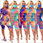 Women Tracksuit Two Piece Set Casual Tie Dye Short Sleeve Corp Tops T-Shirt Bikers Pants Suit