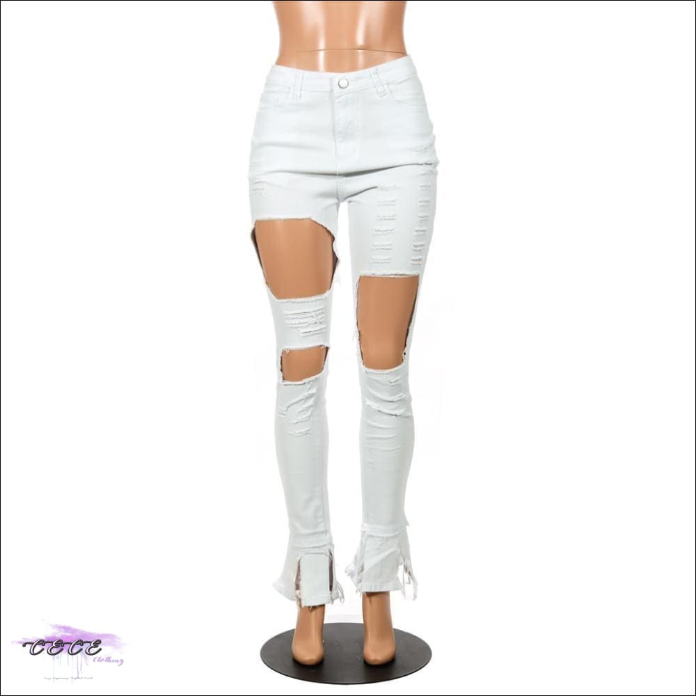 'Cream Of Da Crop' Hollow Out Flare Ripped White Denim Jeans
