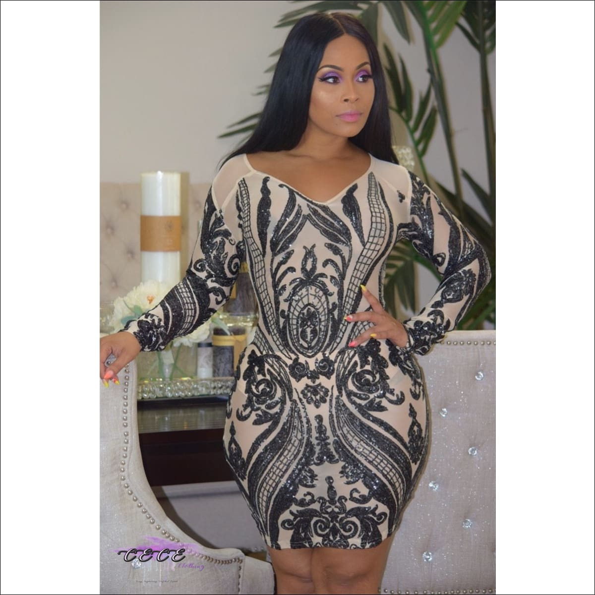 Curvalicious Geometric Sequin Long Sleeve Mini Dress