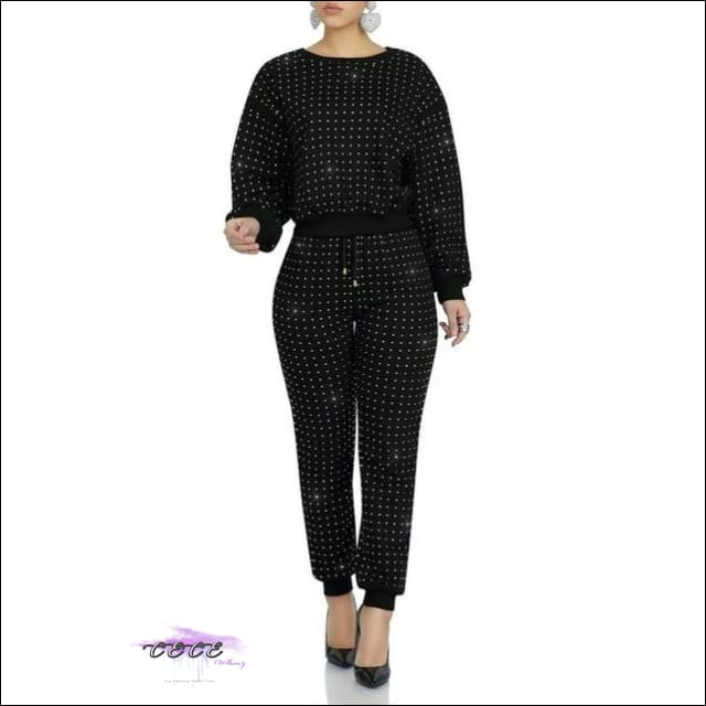 Curves Are Forever Two Piece Long Sleeve Rhinestone Tracksuit Black / M