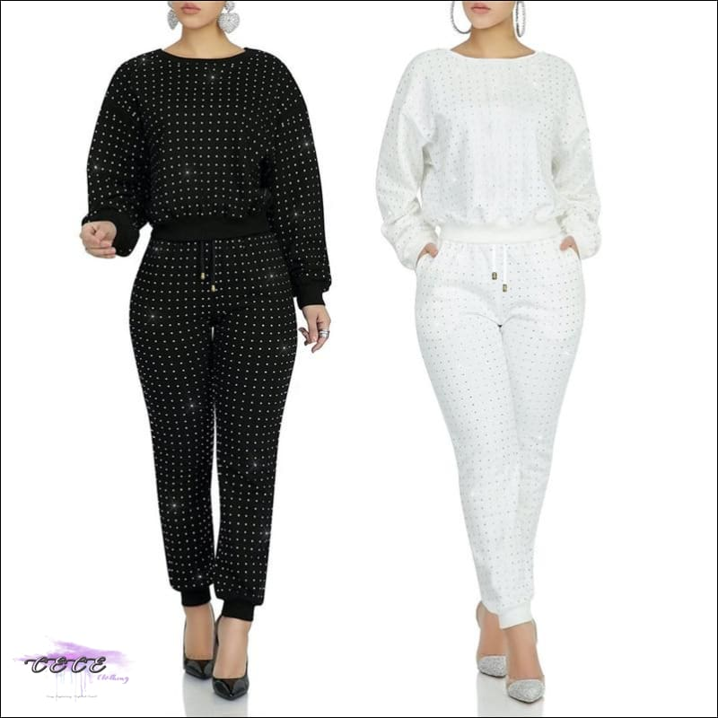 Curves Are Forever Two Piece Long Sleeve Rhinestone Tracksuit