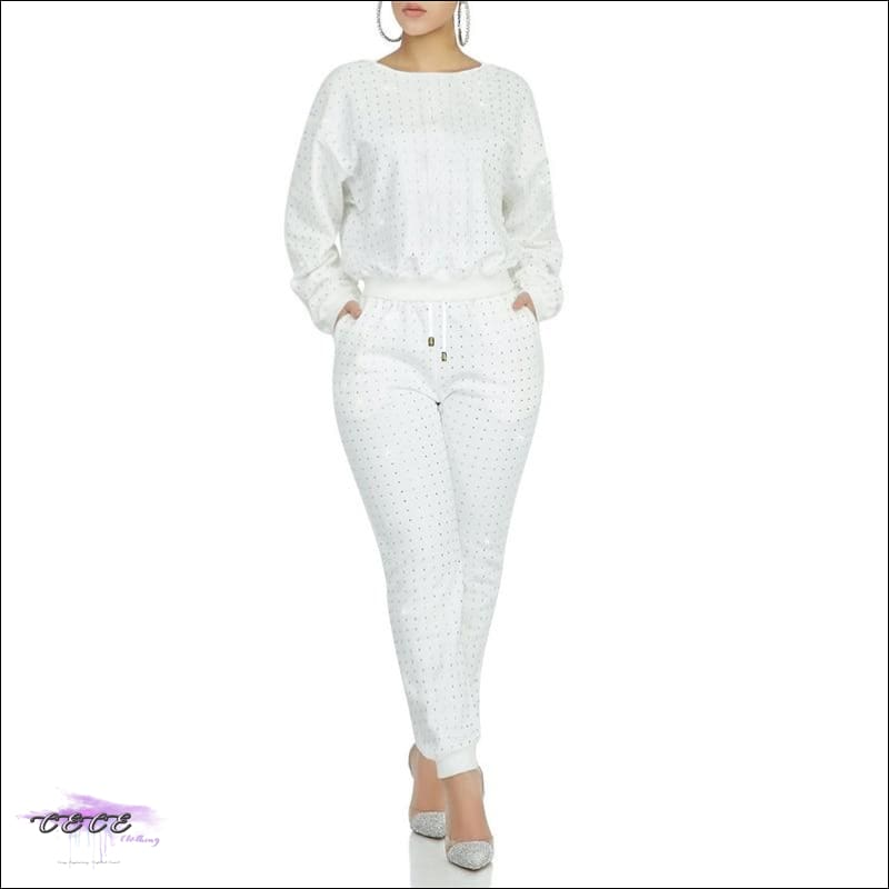 Curves Are Forever Two Piece Long Sleeve Rhinestone Tracksuit White / S