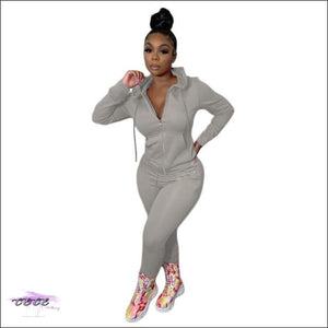 'Curves Gotcha Staring' Two Piece Skintight Hooded Tracksuit gray suit / XXL / United States