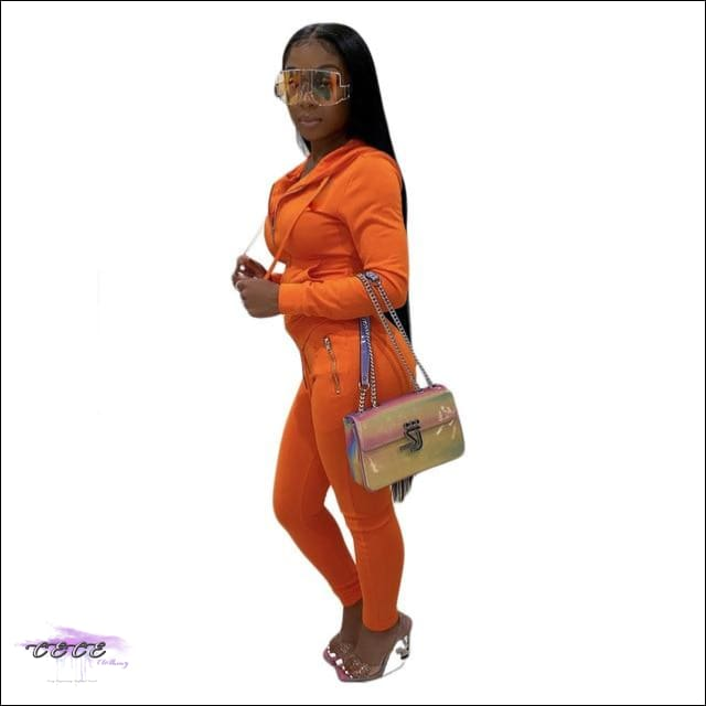 'Curves Gotcha Staring' Two Piece Skintight Hooded Tracksuit orange suit / XXL / United States