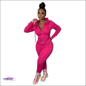 'Curves Gotcha Staring' Two Piece Skintight Hooded Tracksuit pink 2 piece set / XXL / United States