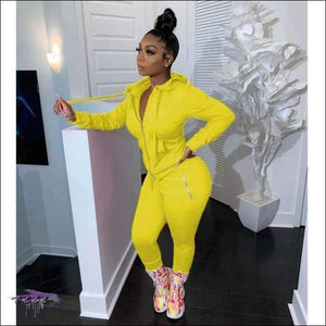 'Curves Gotcha Staring' Two Piece Skintight Hooded Tracksuit yellow 2 piece set / XXL / United States
