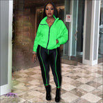 Curves Make These Colors Pop Fluorescent 2 Piece Tracksuit Green / S