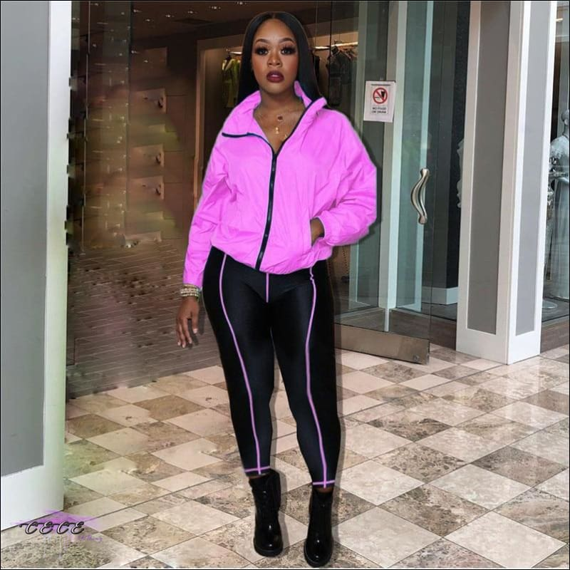 Curves Make These Colors Pop Fluorescent 2 Piece Tracksuit Pink / S