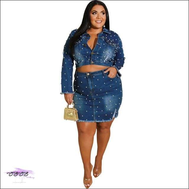 Curves & Pearls Two Piece Washed Ripped Blue Jean Dress deep blue set / 3X