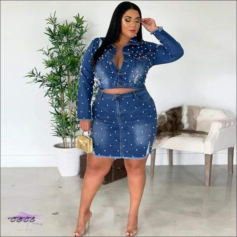 Curves & Pearls Two Piece Washed Ripped Blue Jean Dress