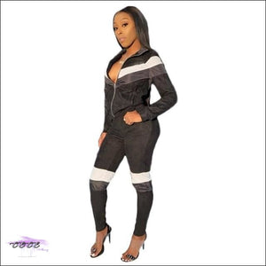 'Curves & Swag' Two Piece Velvet Tracksuit black 2 piece set / XXL / United States
