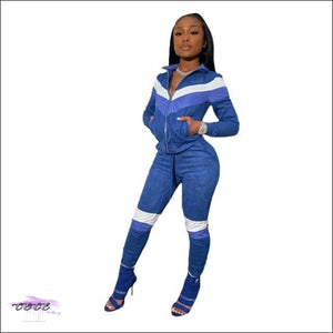 'Curves & Swag' Two Piece Velvet Tracksuit blue 2 piece set / S / United States